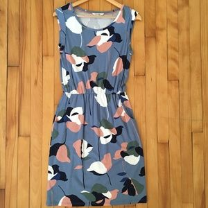 Boden Abstract Floral Knit Dress Blue Size 4R